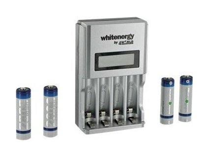 WHITENERGY 07310 Whitenergy rýchla nabíjačka LCD 1800mA pre 4 akumulátory AA/AAA + 4xAA 2800mAh