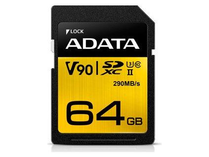 ADATA ASDX64GUII3CL10-C 64GB Premier ONE SDXC UHS-II U3 Class 10 R/W up to 290/260 MB/s