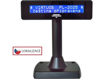 LCD zákaznický displej Virtuos FL-2025MB 2x20, serial (RS-232), černý