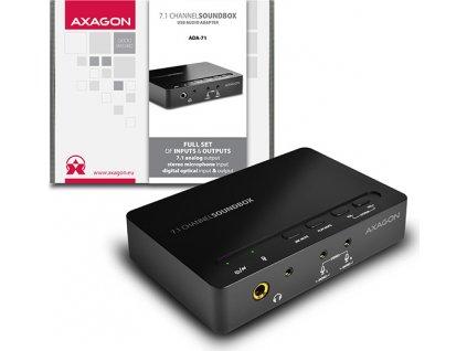 AXAGON ADA-71, USB2.0 - 7.1 audio SOUNDbox, SPDIF vstup/výstup