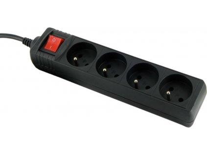 WHITENERGY 08405 Whitenergy predlžovací kábel s prepäťovou ochranou 125J, 4 zásuvky, 3m, čierna