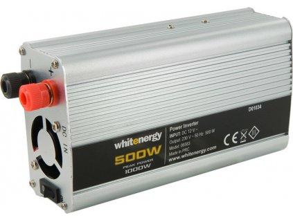 WHITENERGY 06583 Whitenergy napäťový menič AC/DC z 12V na 230V 500 W, 2 zásuvky