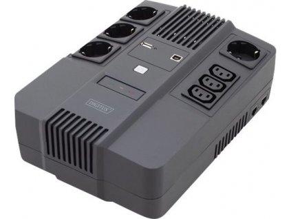 DIGITUS UPS Line-Interactive 600VA/360W AVR 4xSCHUKO 3xIEC C13 1xUSB A/B RJ45
