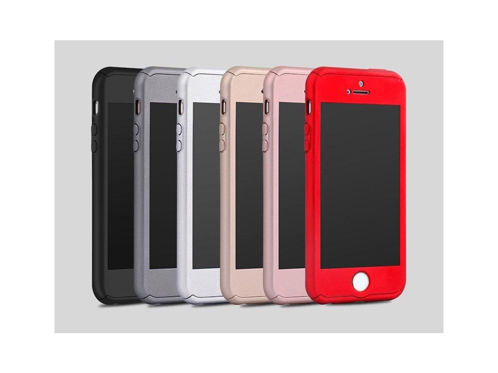 Kryt 360° Premium Armor + tvrzené sklo na iPhone 5 / 5S / SE (Barva Rose Gold)