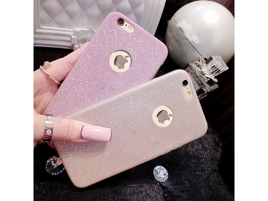Silikonové třpitivé pouzdro na iPhone 6 / 6S (Barva stříbrná)