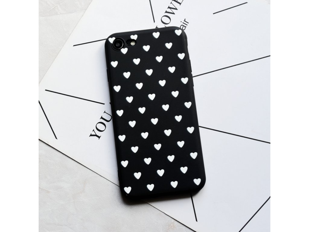 Kryt Little Heart Black-White na iPhone 7