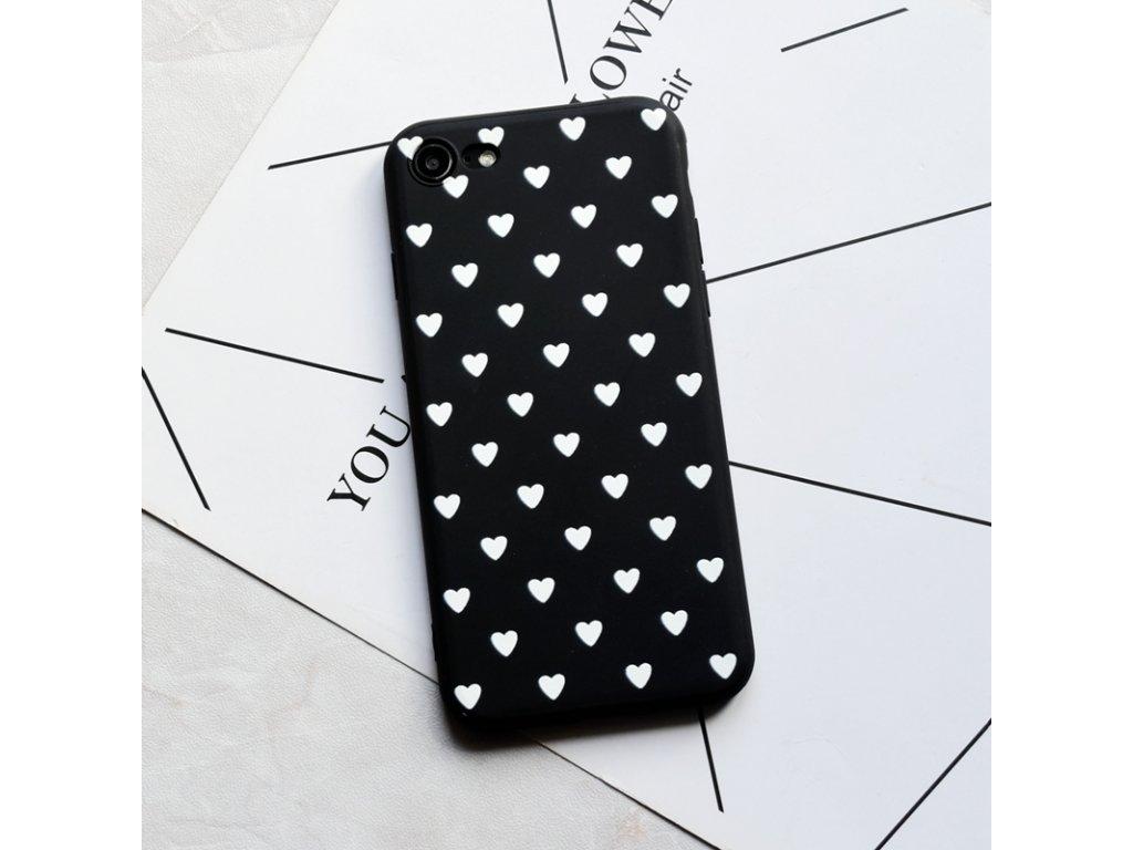 Kryt Little Heart Black-White na iPhone X