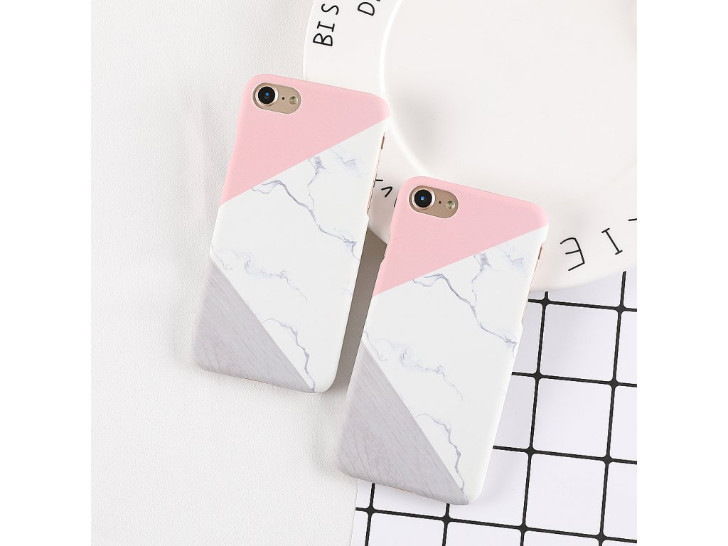 Kryt Marble Pink/White/Grey na iPhone 7 Plus