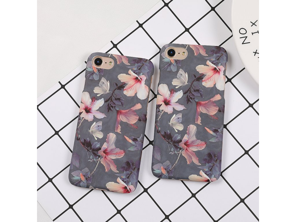Kryt Floral Grey na iPhone 8 Plus