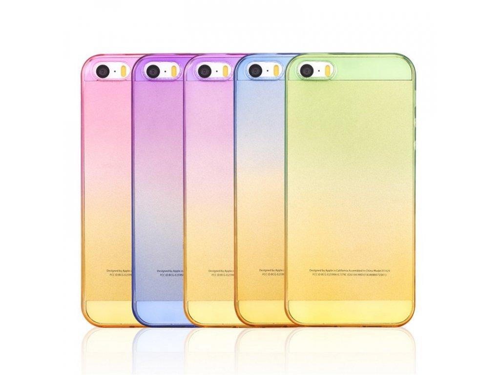 Silikonové barevné pozdro na iPhone 5 / 5S /SE (Barva růžová / žlutá)