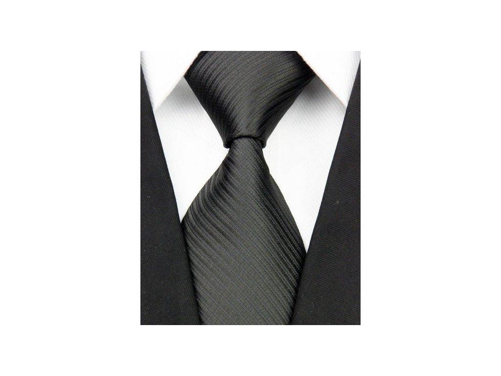 Hedvábná kravata černá NT0031