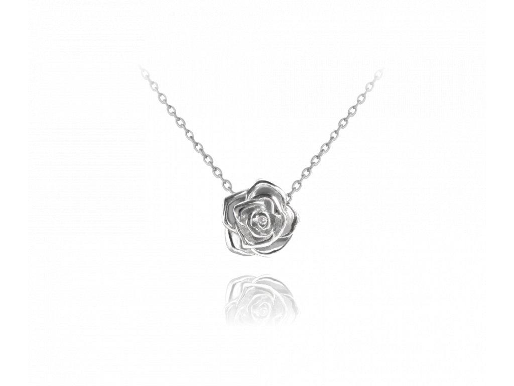 Stříbrný náhrdelník MINET RŮŽIČKA