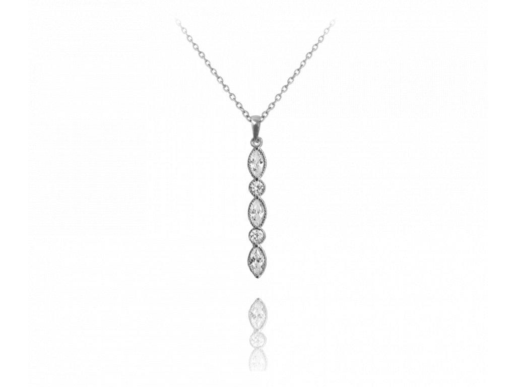 Romantický stříbrný náhrdelník MINET s bílými zirkony