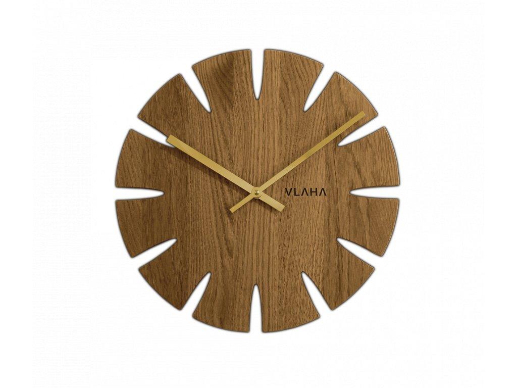 Dubové hodiny VLAHA se zlatými ručkami