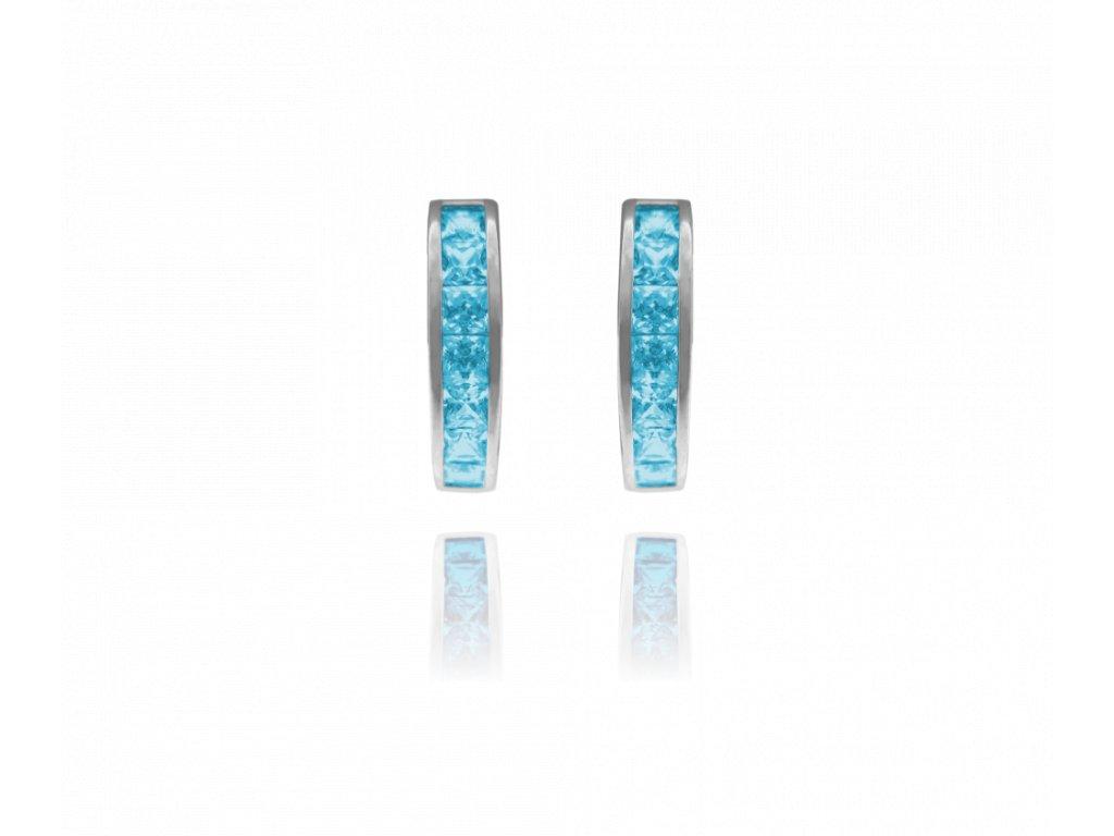 Třpytivé stříbrné náušnice MINET s velkými světle modrými zirkony