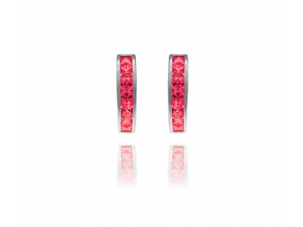 Třpytivé stříbrné náušnice MINET s velkými růžovými zirkony