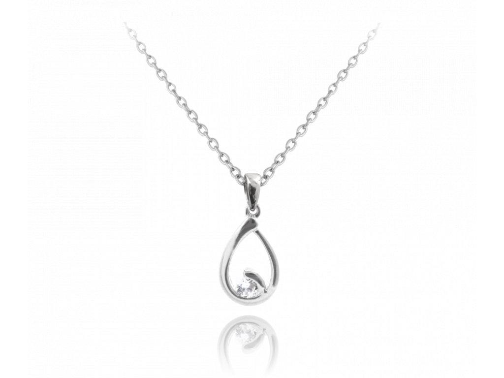 Stříbrný náhrdelník MINET KAPKA s bílým zirkonem