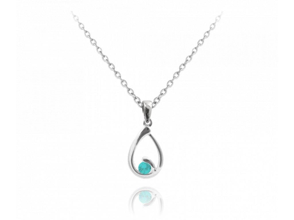 Stříbrný náhrdelník MINET KAPKA s modrým zirkonem