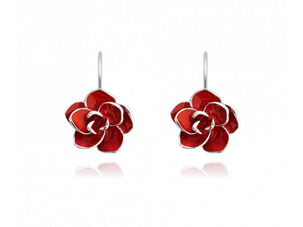 Červené rozkvetlé stříbrné náušnice MINET FLOWERS