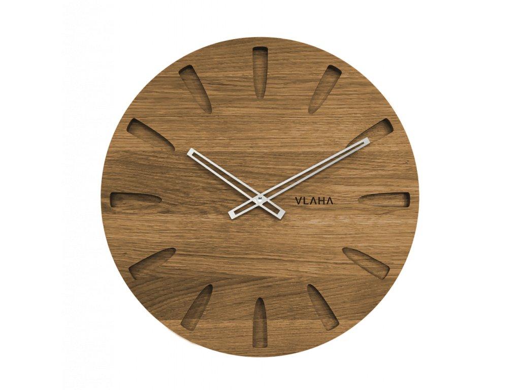 Velké dubové hodiny VLAHA se stříbrnými ručkami