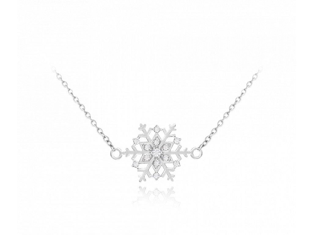 Stříbrný náhrdelník MINET VLOČKA s bílými zirkony