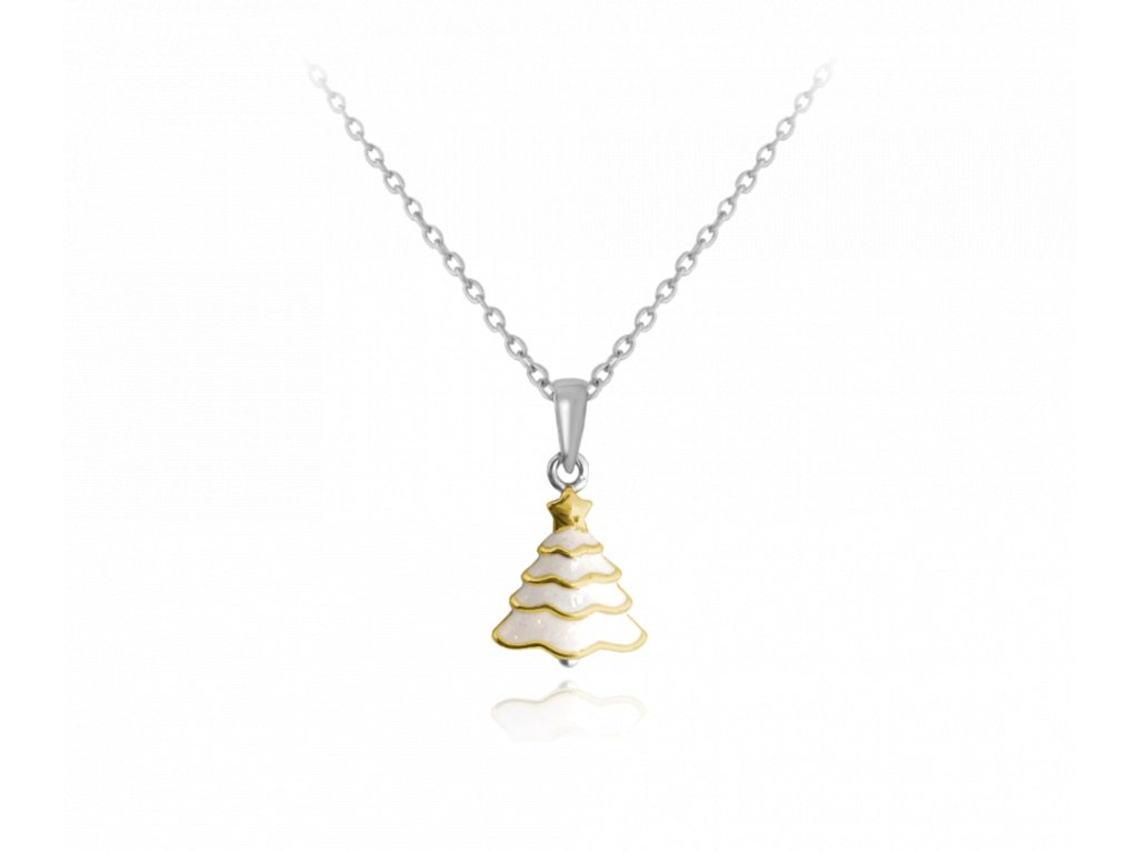 Vánoční stříbrný náhrdelník MINET STROMEČEK