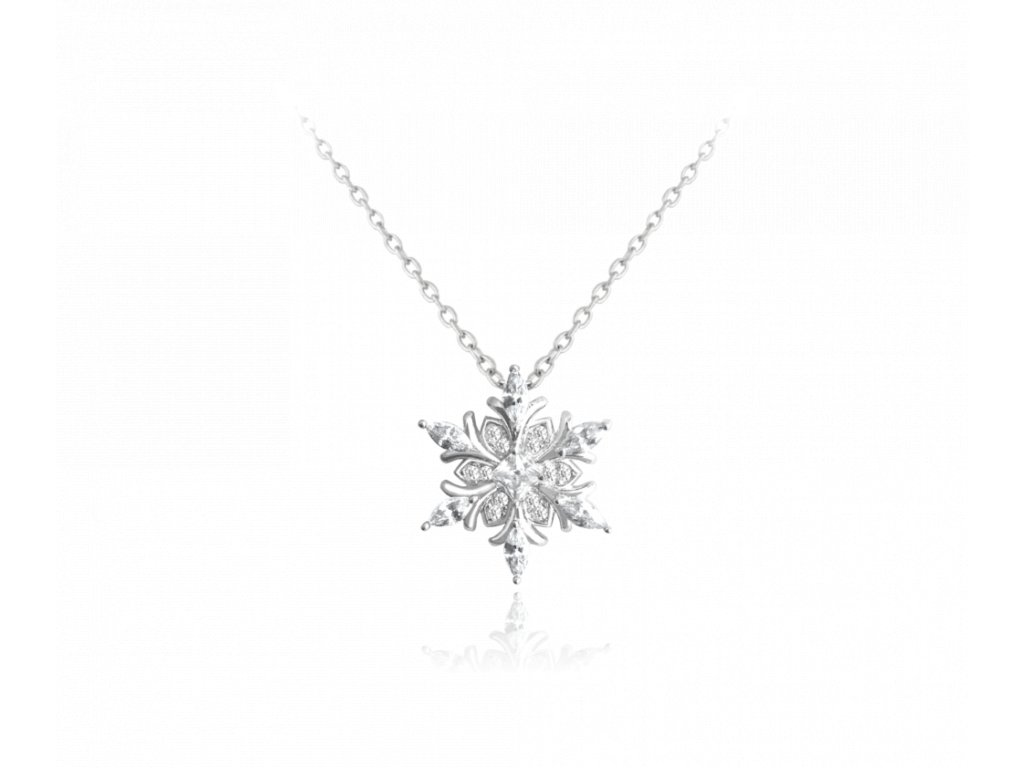 Stříbrný náhrdelník MINET SNĚHOVÁ VLOČKA s bílými zirkony