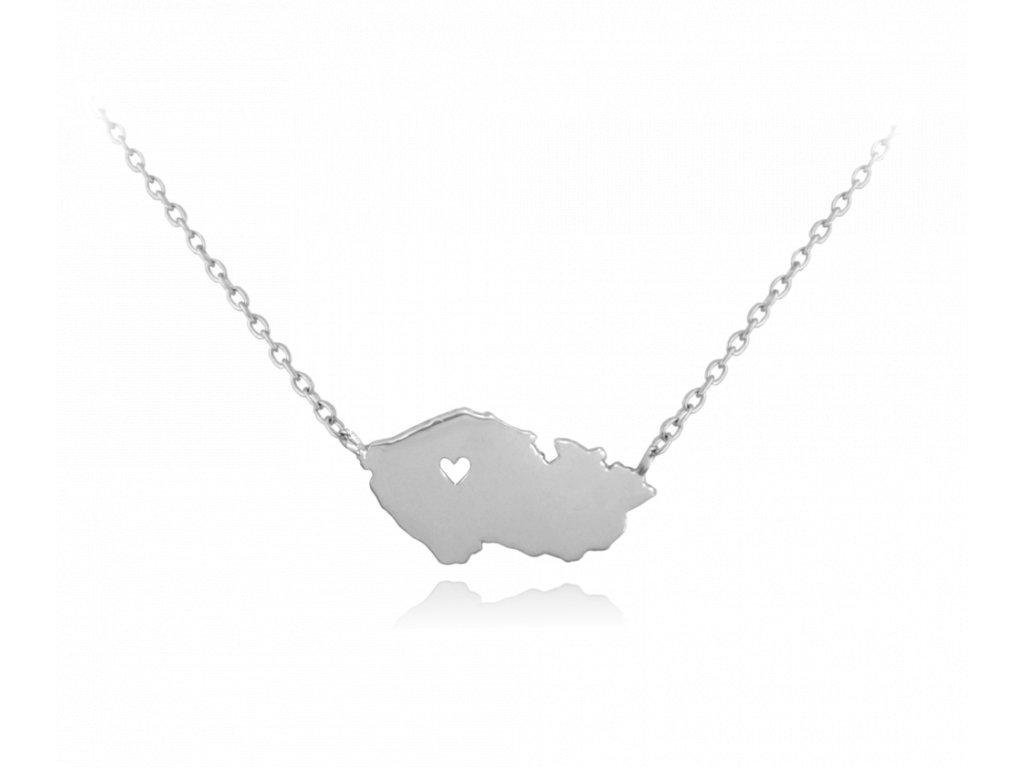 Stříbrný náhrdelník MINET ČESKÁ REPUBLIKA