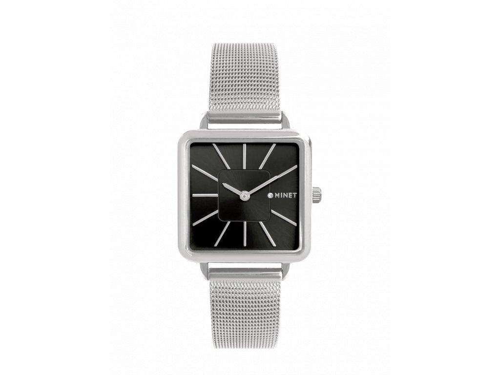 Stříbrno-černé dámské hodinky MINET OXFORD SILVER BLACK MESH