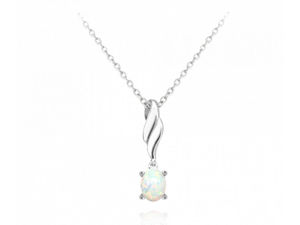 Stříbrný náhrdelník MINET s bílým opálkem
