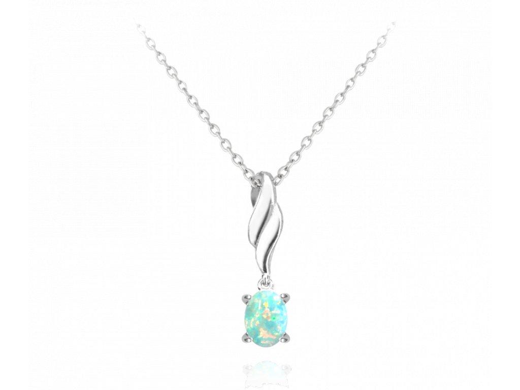 Stříbrný náhrdelník MINET s tyrkysovým opálkem
