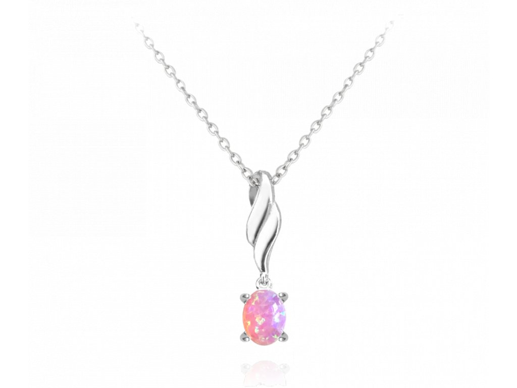 Stříbrný náhrdelník MINET s růžovým opálkem