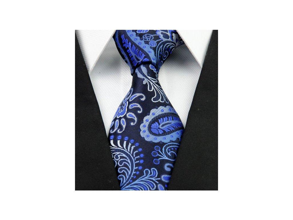 Kašmírová hedvábná kravata modrá NT0258