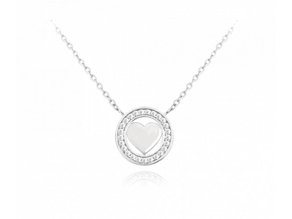 Stříbrný náhrdelník se srdíčkem MINET LOVE s bílými zirkony