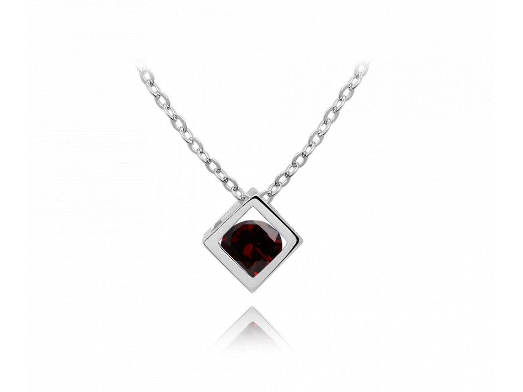 Moderní stříbrný náhrdelník MINET CUBE s rudým zirkonem