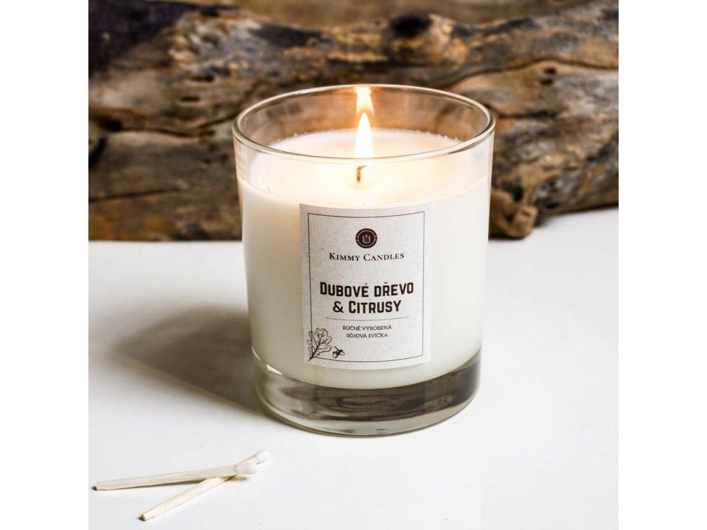 Sójová svíčka Dubové dřevo & Citrusy