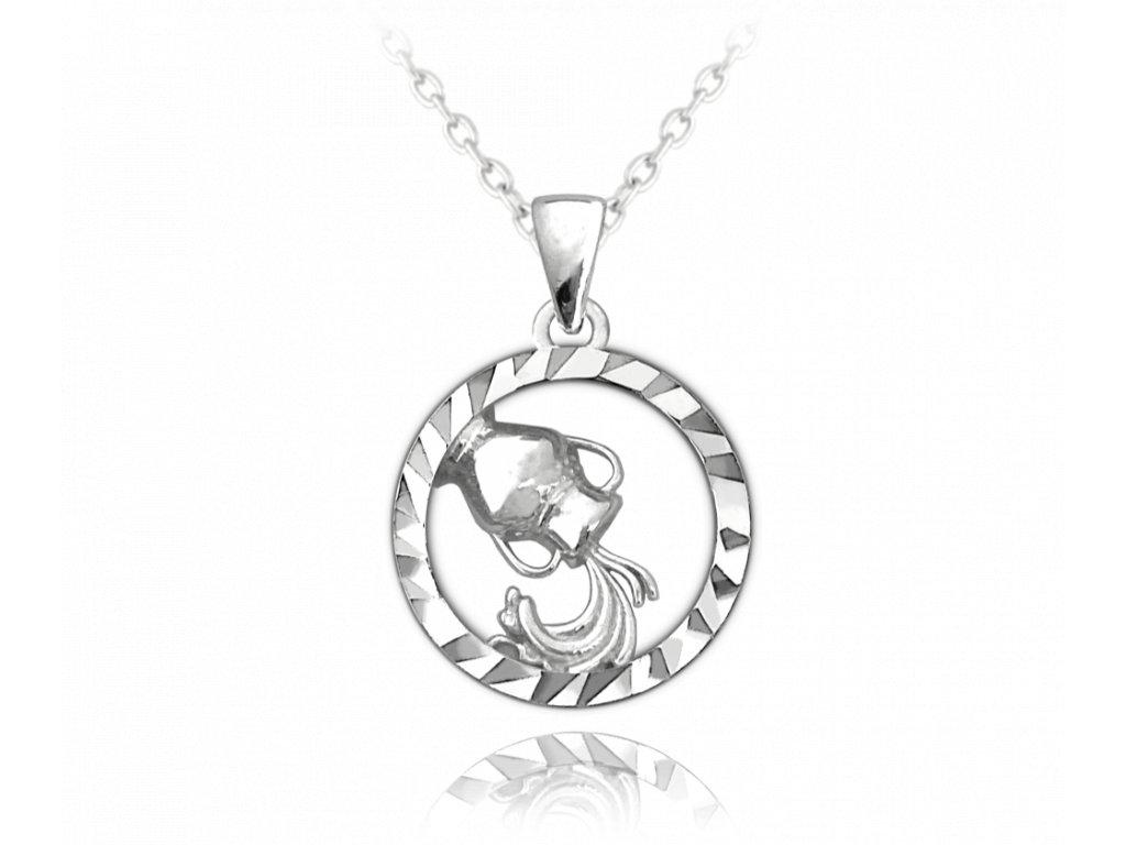Stříbrný náhrdelník MINET Zodiac znamení VODNÁŘ