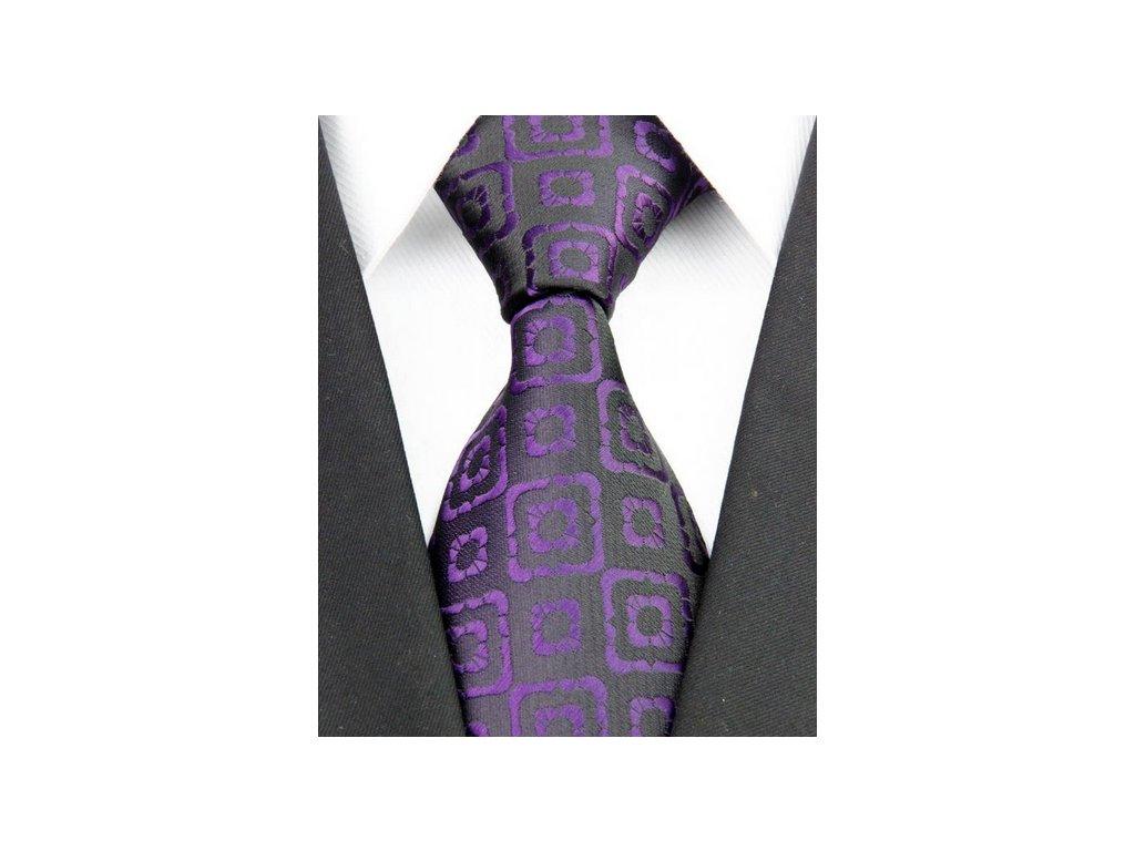 Hedvábná kravata černá NT0195