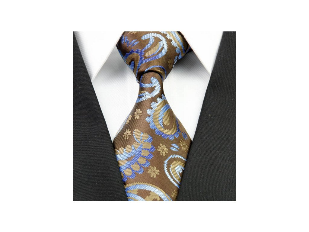 Hedvábná kravata hnědá NT0235