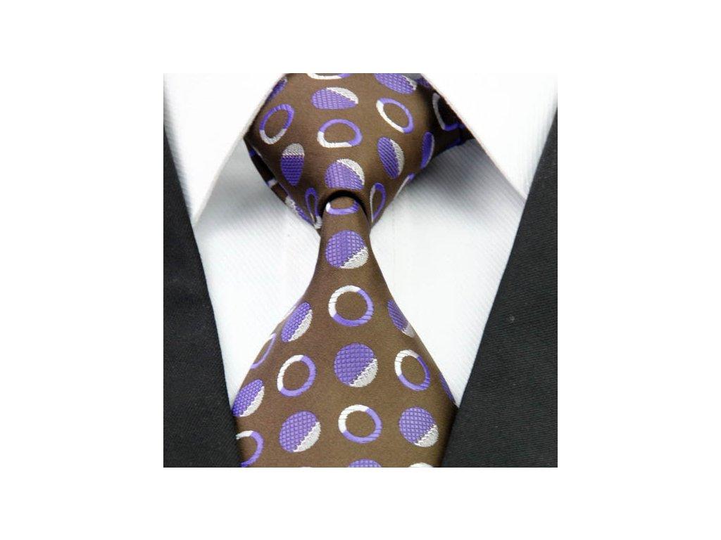 Hedvábná kravata hnědá NT0266