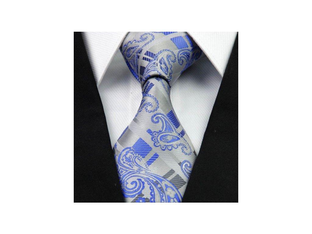 Kašmírová hedvábná kravata šedá NT0267