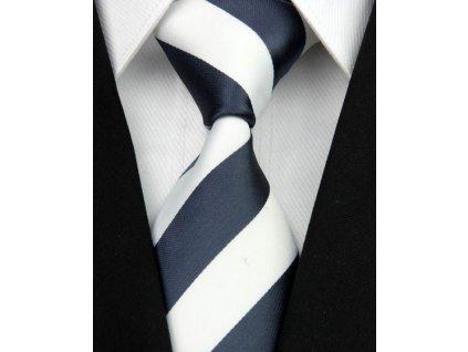 Hedvábná kravata modro-bílá NT0030