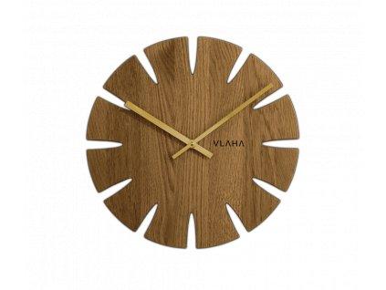 Dubové hodiny VLAHA s ručkami zlaté barvy