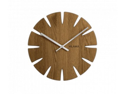 Dubové hodiny VLAHA se stříbrnými ručkami