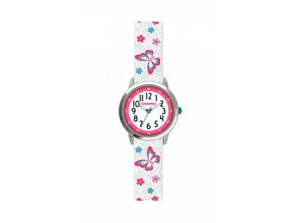 Motýlí bílé dívčí hodinky CLOCKODILE BUTTERFLIES se třpytkami