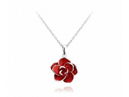 Červený rozkvetlý stříbrný náhrdelník MINET FLOWERS