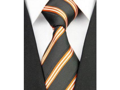 Hedvábná kravata černá NT0117