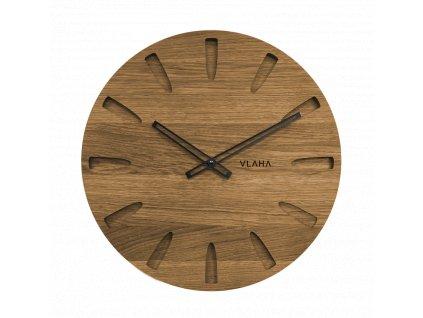 Velké dubové hodiny VLAHA s černými ručkami