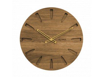 Velké dubové hodiny VLAHA s ručkami zlaté barvy