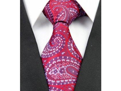 Kašmírová hedvábná kravata červená NT0222